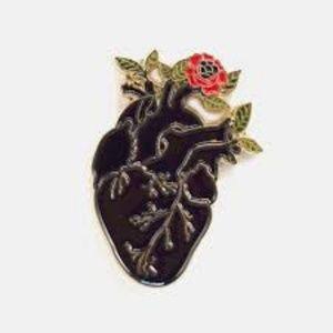 Jewelry - Black Anatomical Heart Enamel Pin